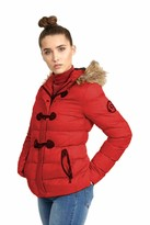 Thumbnail for your product : Brave Soul Ladies Wizard Padded Jacket - Red/Brown Trim - UK 8