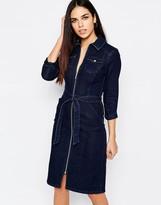 Warehouse Denim Zip Through Belted Midi Dress