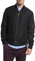 Vince Linen-Silk Flight Jacket, Black