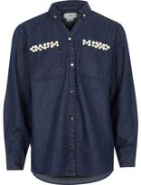 River Island Girls Blue embellished pocket denim shirt