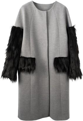 N'onat Grey Swan Faux-Fur Coat