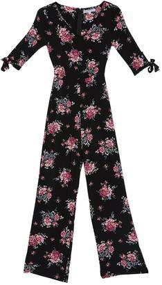 Velvet Torch Floral Tie Sleeve Jumpsuit