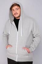 Yours Clothing BadRhino Grey Marl Zip Through Hoodie