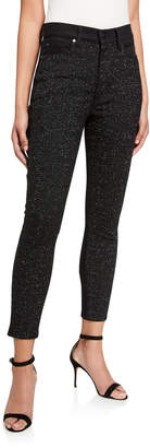 Alice + Olivia JEANS Good Sequined High-Rise Ankle Jeans