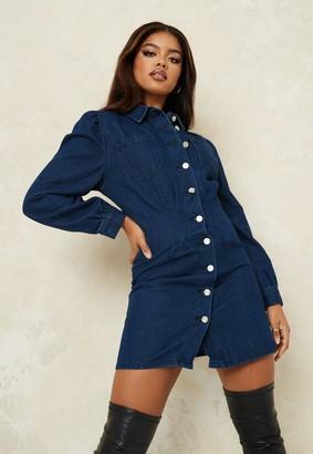 Missguided Deep Blue Denim Cinched Waist Mini Shirt Dress