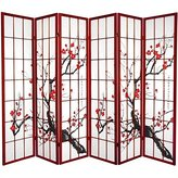 Oriental Furniture Cherry Color Frame, 6-Feet Sakura Blossom Shoji Folding Floor Screen Room Divider