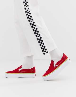 Vans Slip-On Platform red rainbow trainers