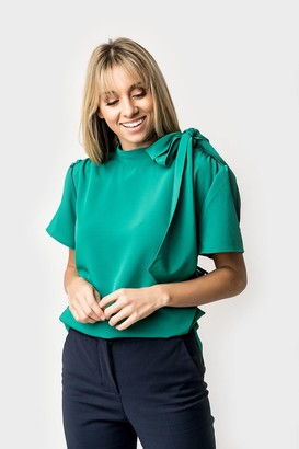 Gibson Short Sleeve Tie-Neck Blouse