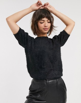 B.young puff short sleeve sweater-Black