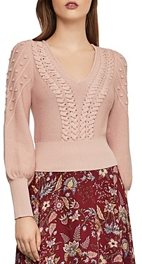 BCBGMAXAZRIA Bishop-Sleeve Cable Sweater