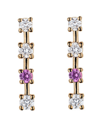 Lee Jones Diamond and Pink Sapphire Sparkling Sugar Stud Earrings - Yellow Gold