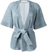 Drome belted kimono jacket - women - Cupro/Lamb Fur - S