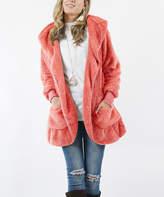 Ash Lydiane Women's Non-Denim Casual Jackets ASHROSE Rose Faux Fur Pocket Cocoon Hooded Jacket - Women