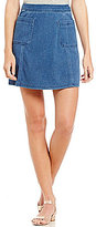 Copper Key Square Pocket Denim Skirt