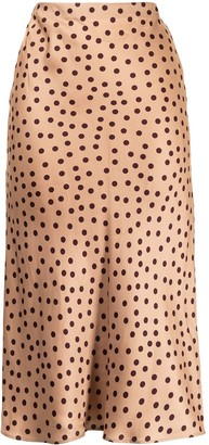L'Agence Polka Dot Straight Skirt