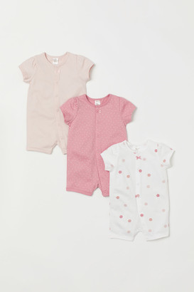 H&M 3-pack Cotton Jumpsuits - Pink