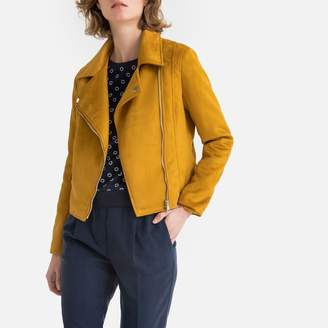 La Redoute Collections Short Faux Suede Biker Jacket with Asymmetric Zip