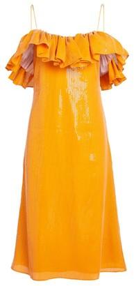 Halpern Sequin-Embellished Ruffle Midi Dress