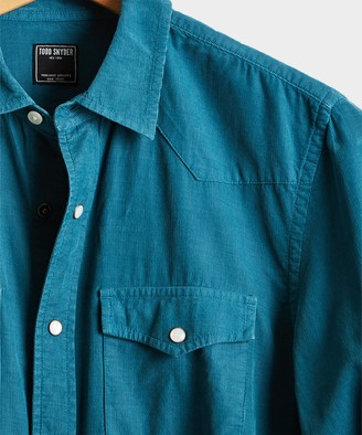 Todd Snyder Micro Corduroy Western Shirt in Teal