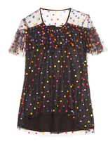 Marco De Vincenzo Polka-dot embroidered tulle top