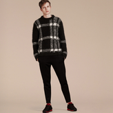 Burberry Check Intarsia Mohair Cashmere Blend Sweater