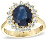 Zales Oval Blue Sapphire and 1/2 CT. T.W. Diamond Frame Engagement Ring in 14K Gold