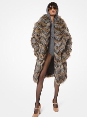 Michael Kors Herringbone Faux Fur Intarsia Coat