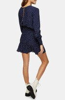 Thumbnail for your product : Topshop Spot Shirred Long Sleeve Minidress