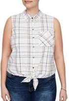 Junarose Plus Plus Rea Printed Knotted-Hem Shirt