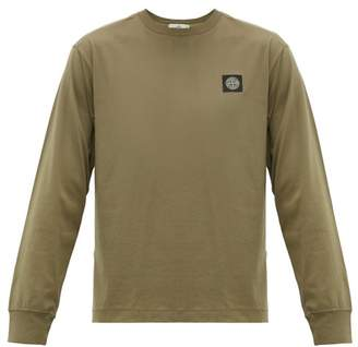 Stone Island Logo-patch Long-sleeved Cotton T-shirt - Mens - Dark Green