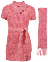 "Dollhouse Big Girls' ""Buttoned V-Neck"" Sweater Dress with Scarf"
