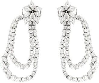 YEPREM White Gold Diamond Spiral Earrings