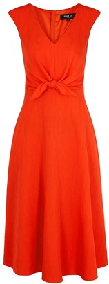 Paule Ka Coral Bow-embellished Midi Dress