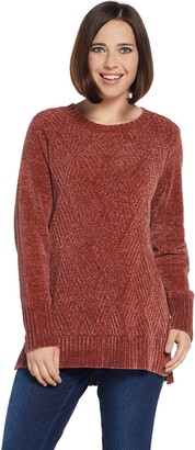 Denim & Co. Chenille Scoop-Neck Long-Sleeve Sweater