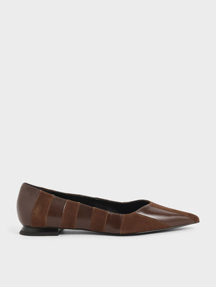 Charles & Keith Kid Suede Wrinkled Leather Striped Ballerina Flats