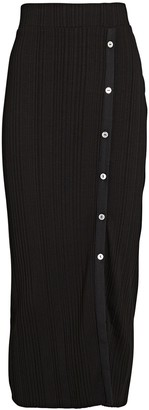 The Range Wave Rib Button-Front Midi Skirt