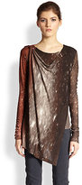 Donna Karan Constellation-Print Draped Overlay Top