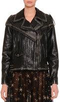Valentino Asymmetric Zip-Front Leather Moto Jacket, Black