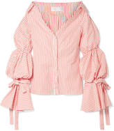 Caroline Constas Margaret Off-the-shoulder Striped Cotton-poplin Shirt - Papaya