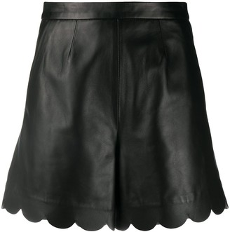 RED Valentino Scalloped-Edge Leather Shorts