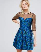 Little Mistress Jacquard Fit And Flare Mini Dress