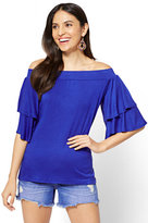 New York & Co. Soho Soft Tee - Ruffled Off-The-Shoulder Top