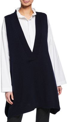 eskandar A-Line Sleeveless Deep-V Long Cashmere Sweater