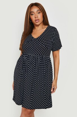boohoo Plus Plunge Polka Dot Cap Sleeve Sundress