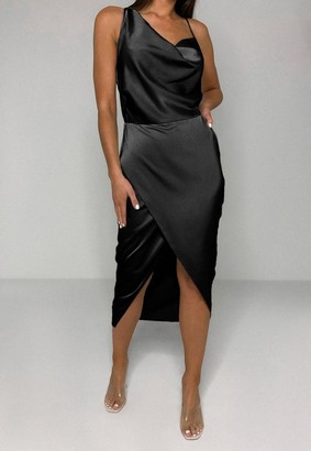 Missguided Petite Black Satin Asymmetric Drape Midi Dress