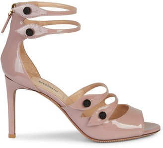 Valentino Button-Strap Patent Leather Sandals