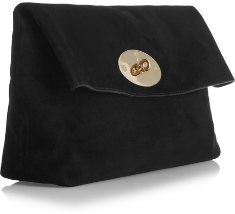 Mulberry Clemmie oversized suede clutch