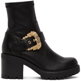 Versace Black Baroque Buckle Boots