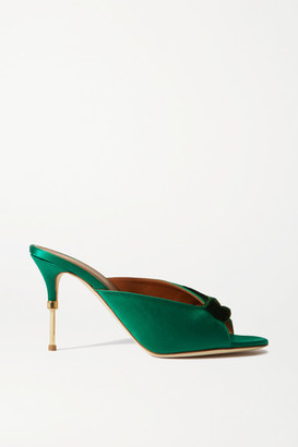 Malone Souliers Paige 85 Velvet-trimmed Satin Mules - Green