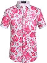SSLR Men's Flower Casual Button Down Short Sleeve Shirt (, White Grey)